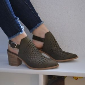 City Classified | Laser Cutout Green Booties